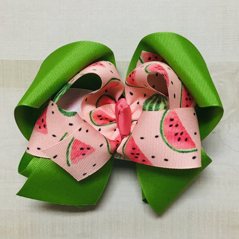 Watermelon Slices over Emerald Hairbow