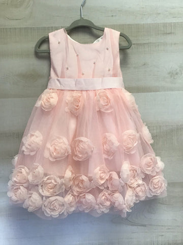 Chiffon Rose Dress with Pearls