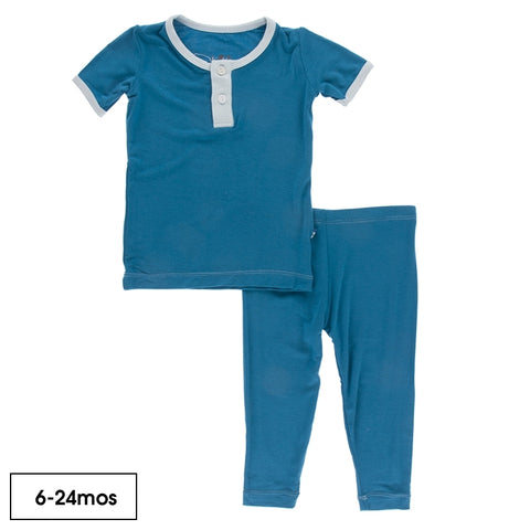 Seaport Illusion Blue Solid Short Sleeve Henley Pajamas