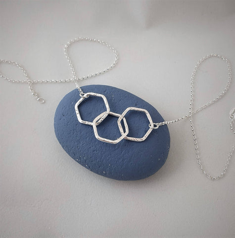 Triple hexagon recycled silver necklace
