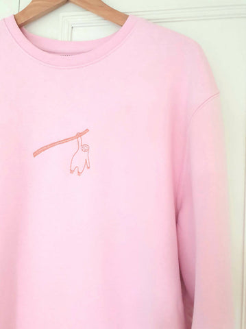 Pink Sweatshirt with Sloth Embroidery