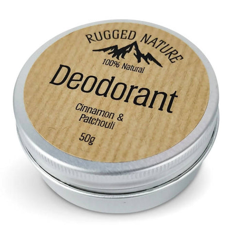 Rugged Nature 100% Natural Deodorant, Cinnamon and Patchouli - 50g