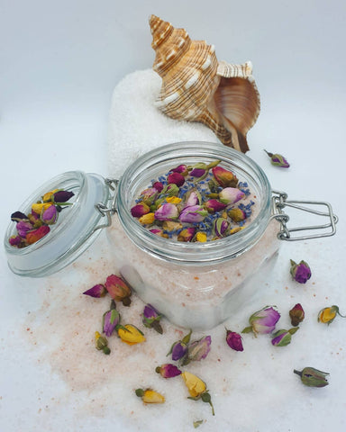 Blossom – Luxury Organic Secret Bath Salt in glass jar (500 g)