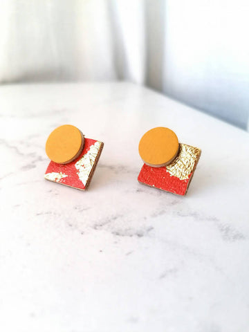 Statement Stud Leather Earrings - Orange, Yellow & Gold Leaf