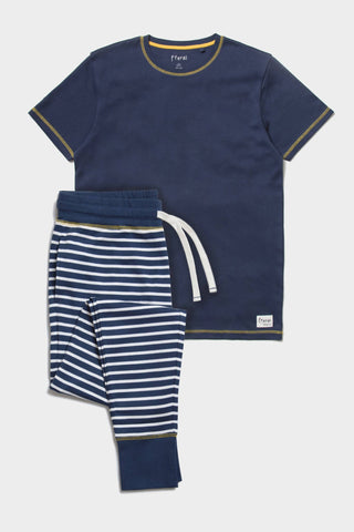 Pyjama Set - Navy Striped - Sustainable Vegan Cotton (Unisex)