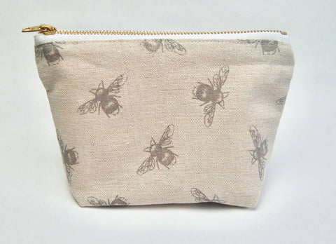 Bee Pencil Grey Makeup Bag or Pencil Case