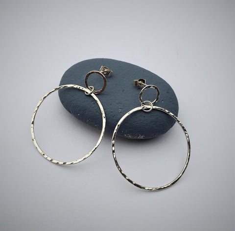 Double circle recycled silver earrings