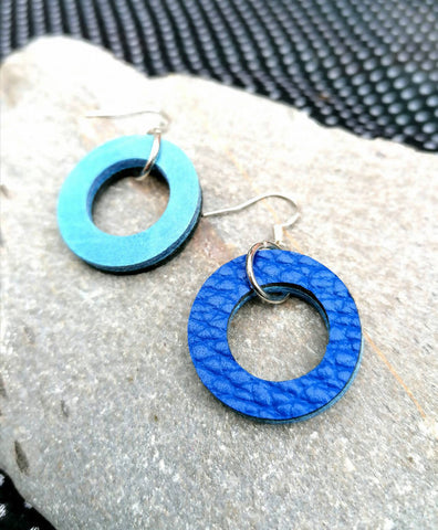 Mini Colour Duo Leather Hoop Earrings - Double Blue, Sterling Silver