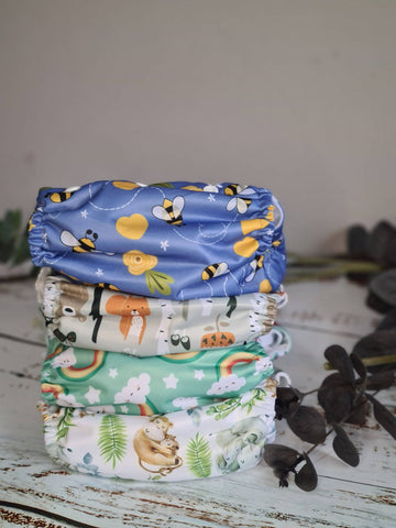 Nature Collection Bundle Set of 4 - Hemp cloth pocket nappies