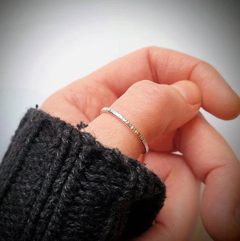 Recycled silver textured thin ring