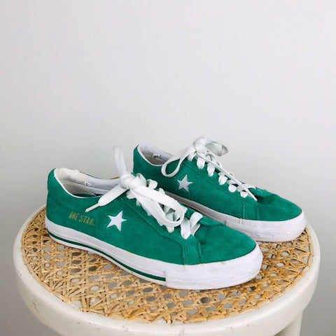 One star converse trainers in emerald green suede