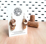 CORK LEATHER EARRINGS - GOLD LEAF DROPS - SHORT