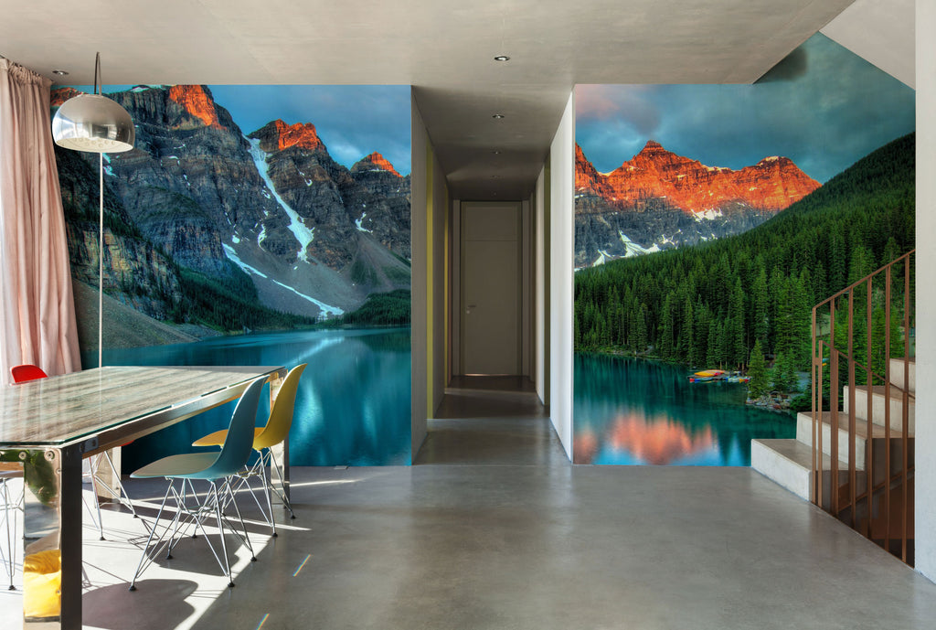 wall mural spring eco green summer wallphoto wallpaper art decor home interior design wallart banff national park calgary forest mountains sunrise