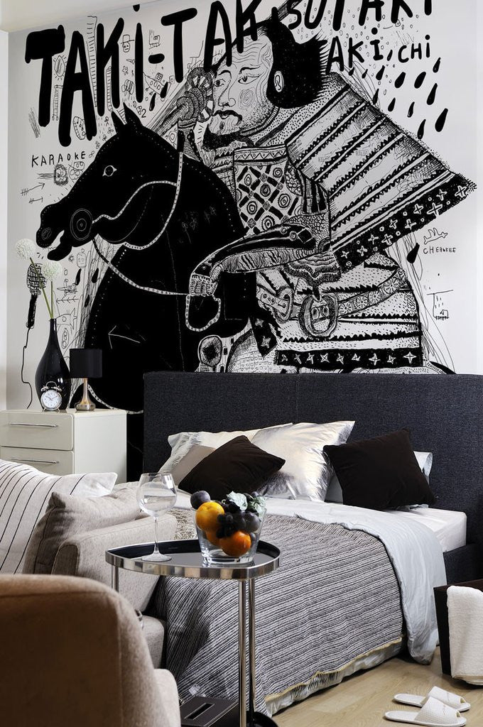 Samurai graffiti wall art eazywallz japan home decor interior design wall mural eazywallz