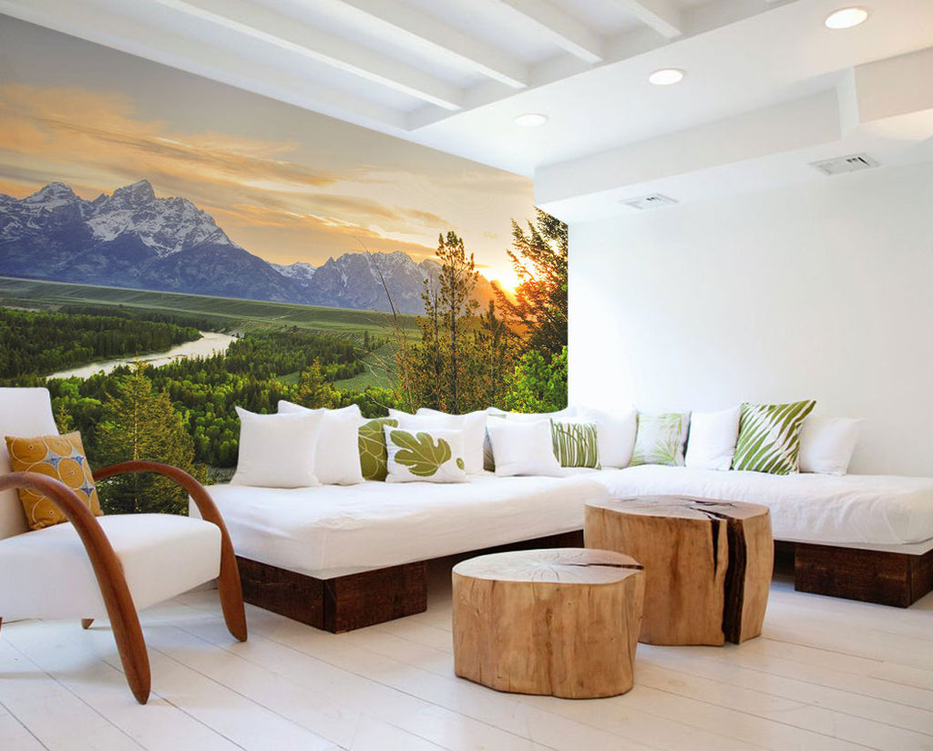 wall mural spring eco green summer wallphoto wallpaper art decor home interior design wallart grand teton spring trees sunrise