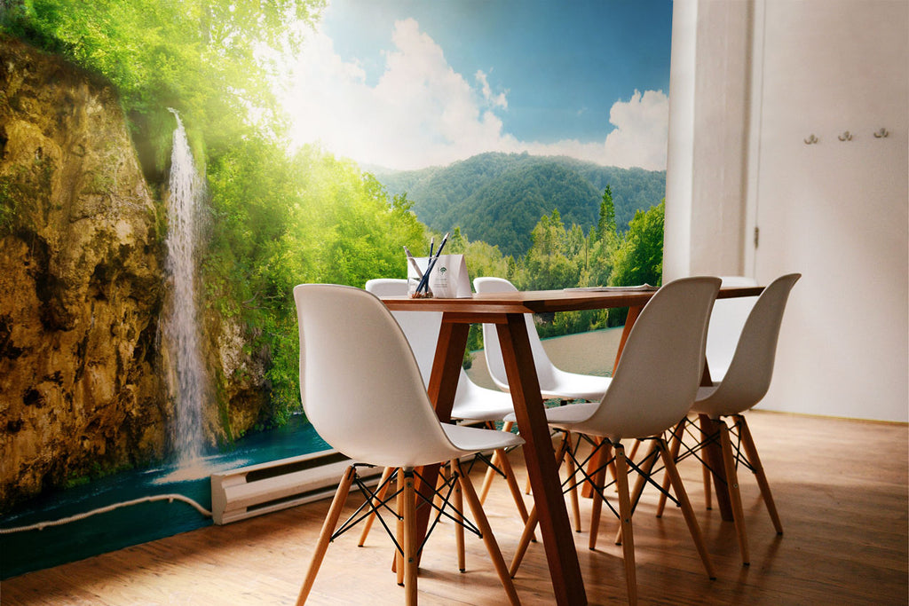 wall mural spring eco green summer wallphoto wallpaper art decor home interior design wallart plitvice croatia europe waterfall green forest nature