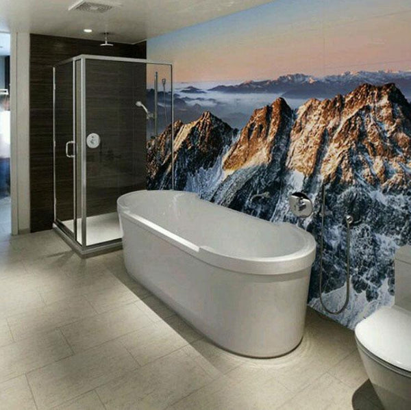 mountain sunset wall mural for bathroom