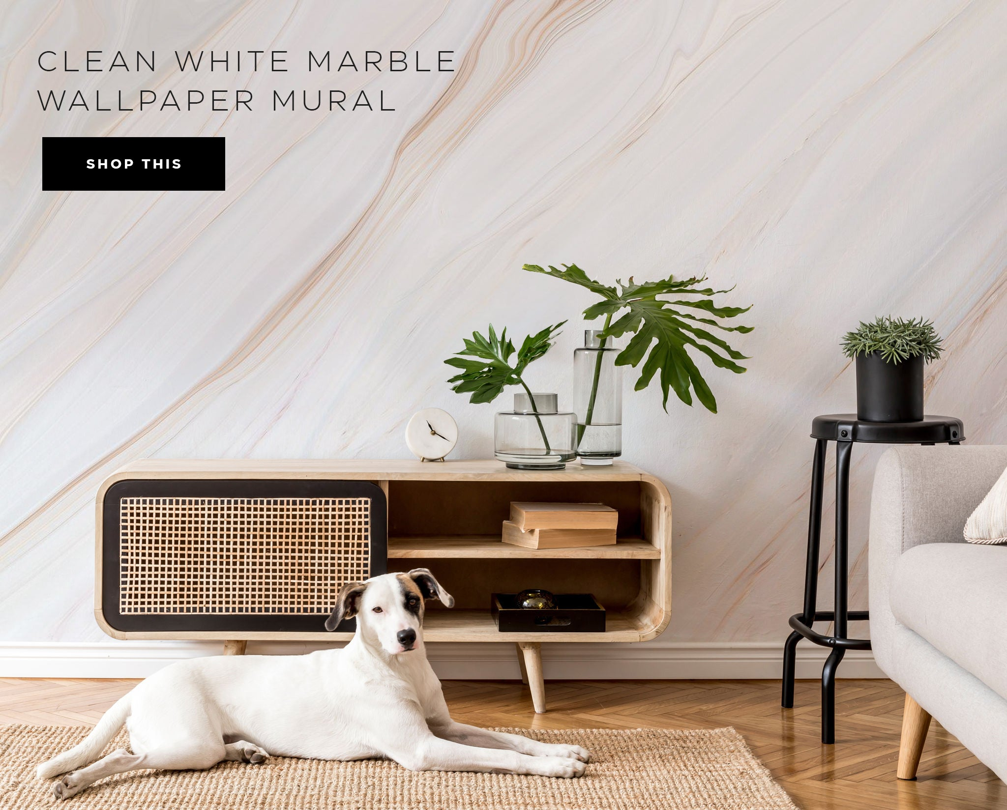 clean white marble wall mural and wallpaper
