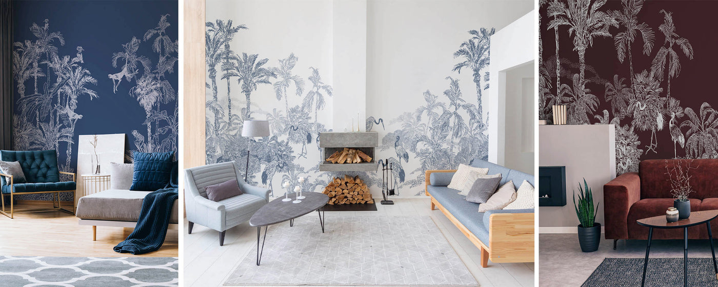jungle toile modern removable wallpaper and wall murals