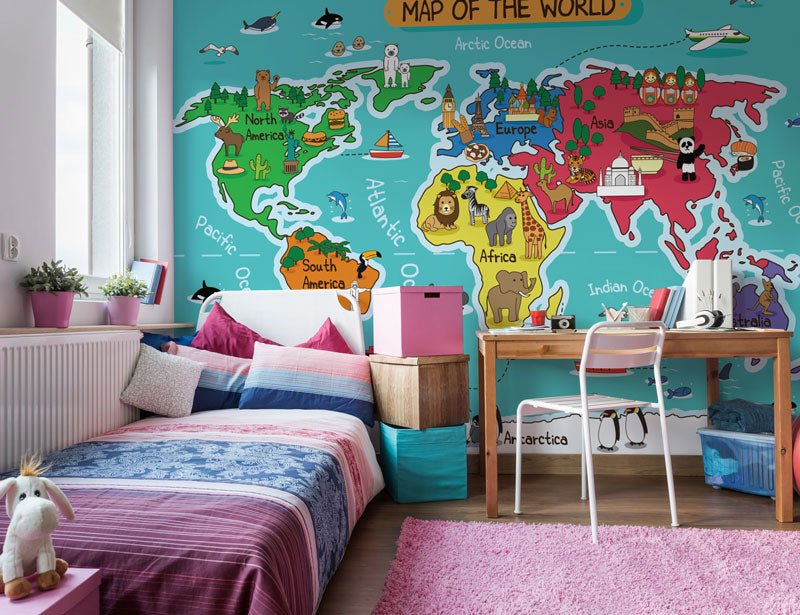 kids wall murals cartoon maps wallpaper for children world maps
