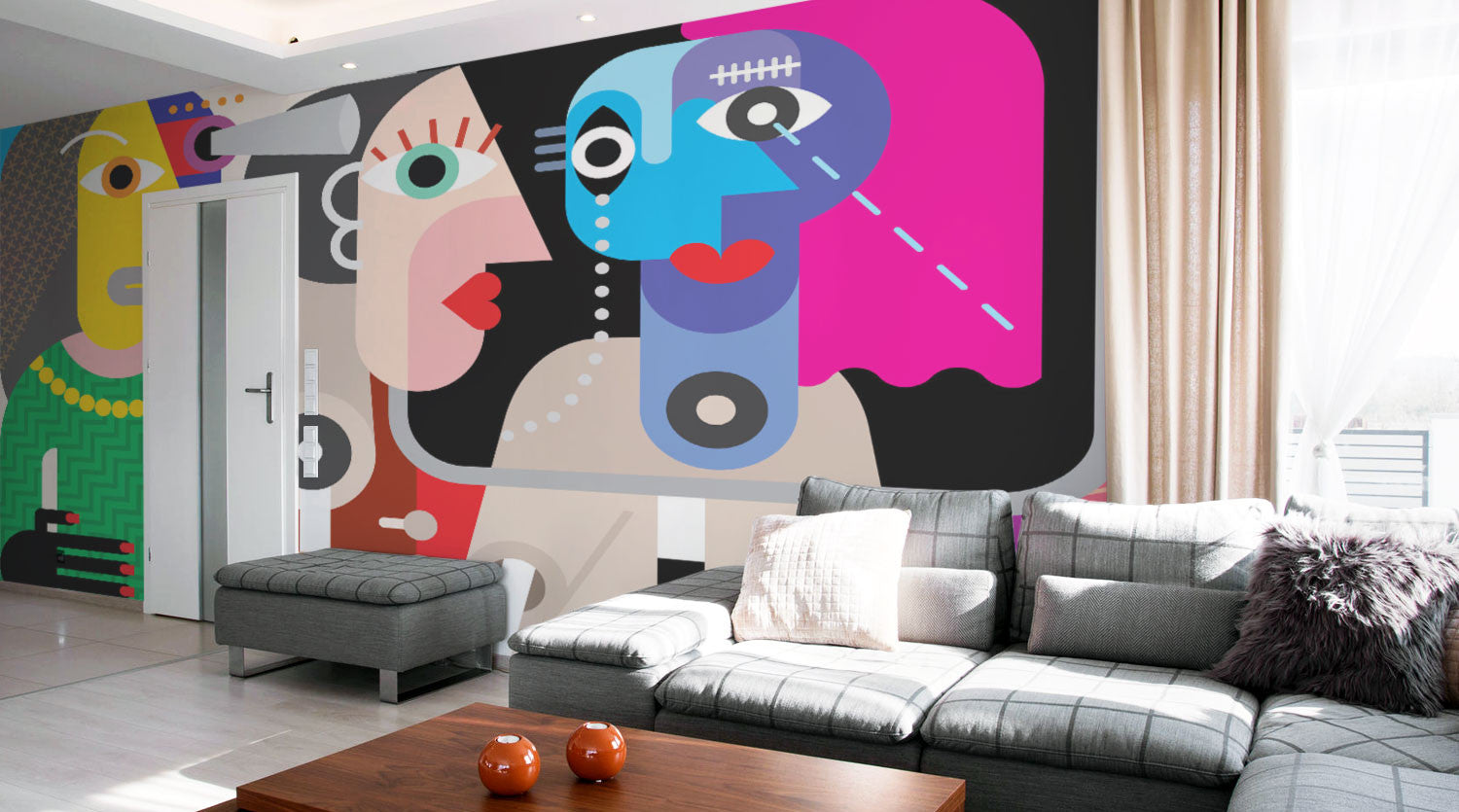 Living Room Wall Murals living room wall murals | eazywallz