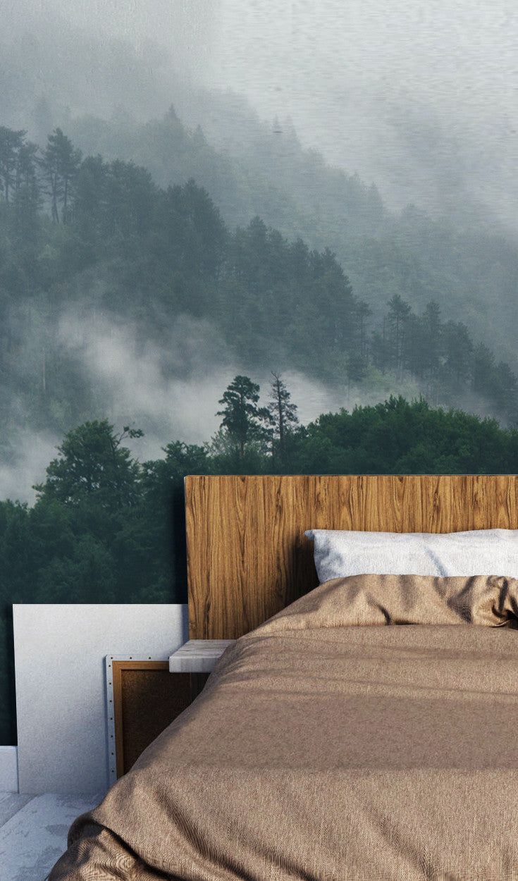 Charmant MISTY FOREST LANDSCAPE WALLPAPER MURAL