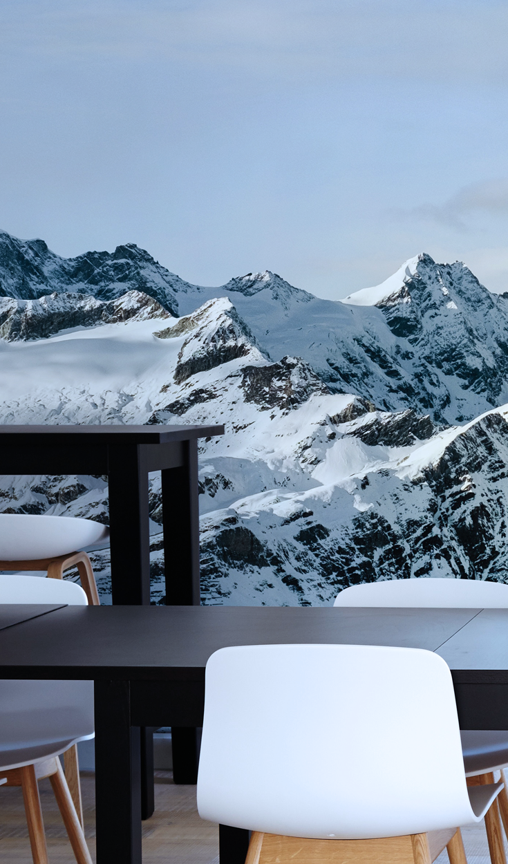 WINTER MOUNTAIN LANDSCAPE WALLPAPER MURAL