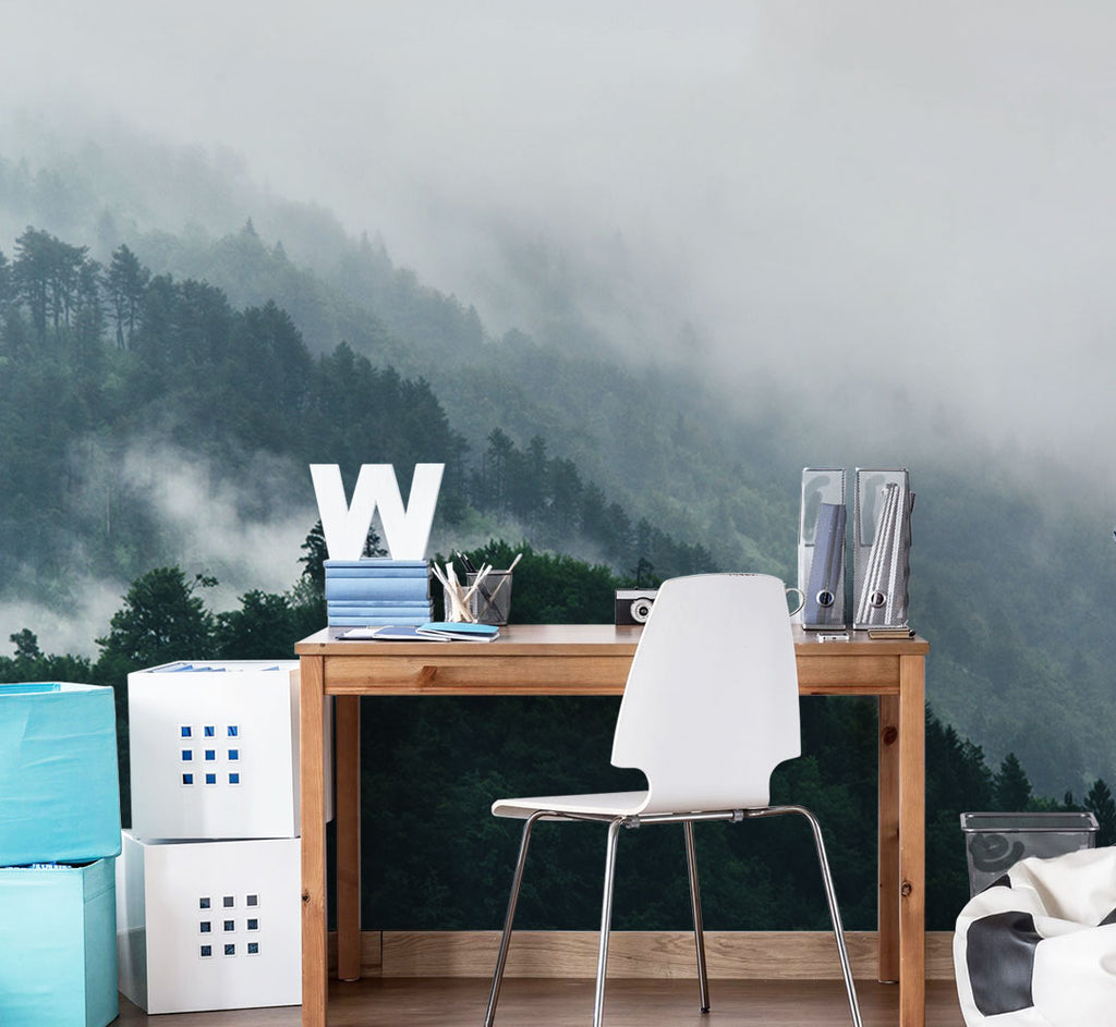 5 brand new stunning panoramic wall murals to upgrade your home panoramic foggy forest overview wall mural amipublicfo Gallery