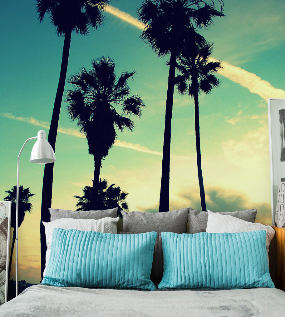 transform your space with tropical inspired wall murals from eazywallz venice beach sunset wall mural