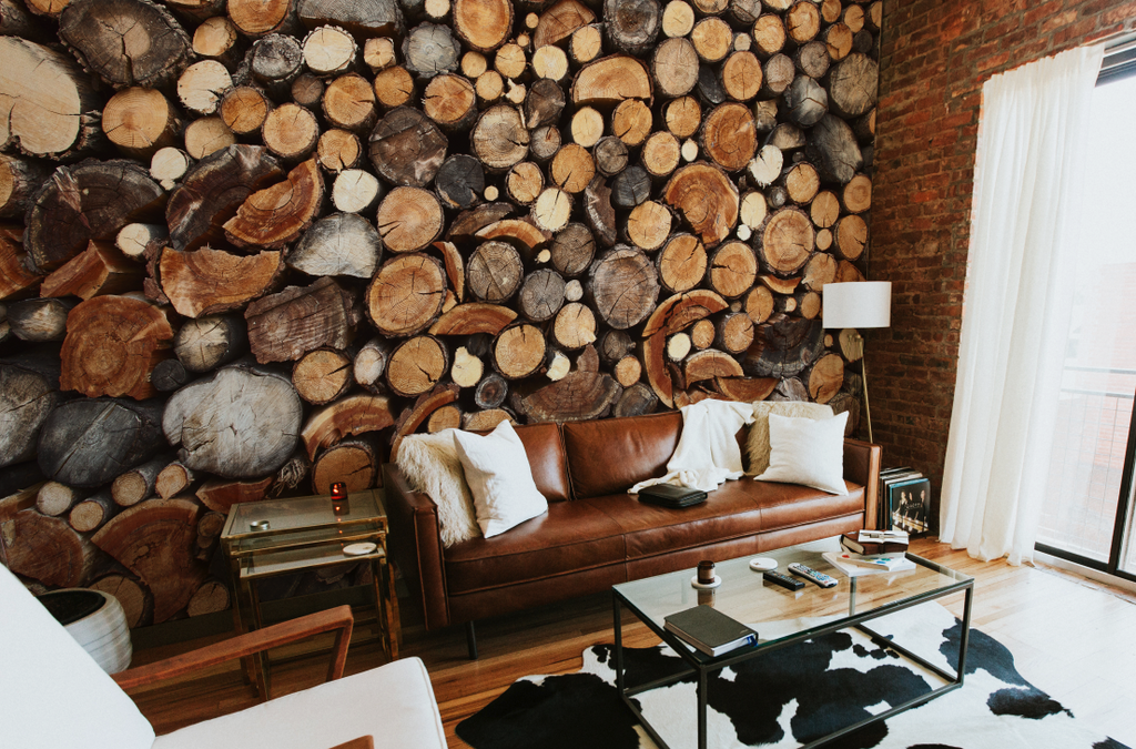 Pile of Chopped Fire Wood Wall Mural