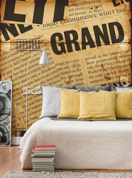 newspaper headline wall mural