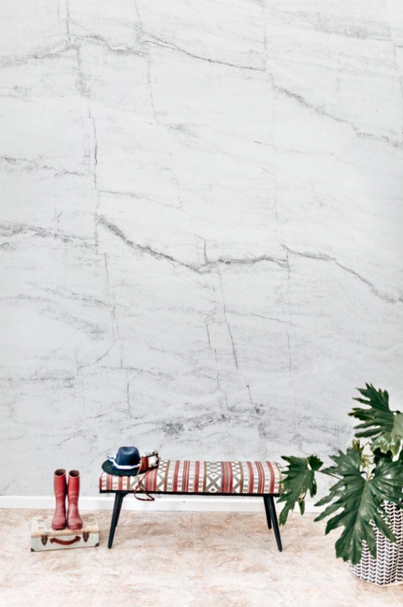 White & Grey Marble Texture Wall Mural