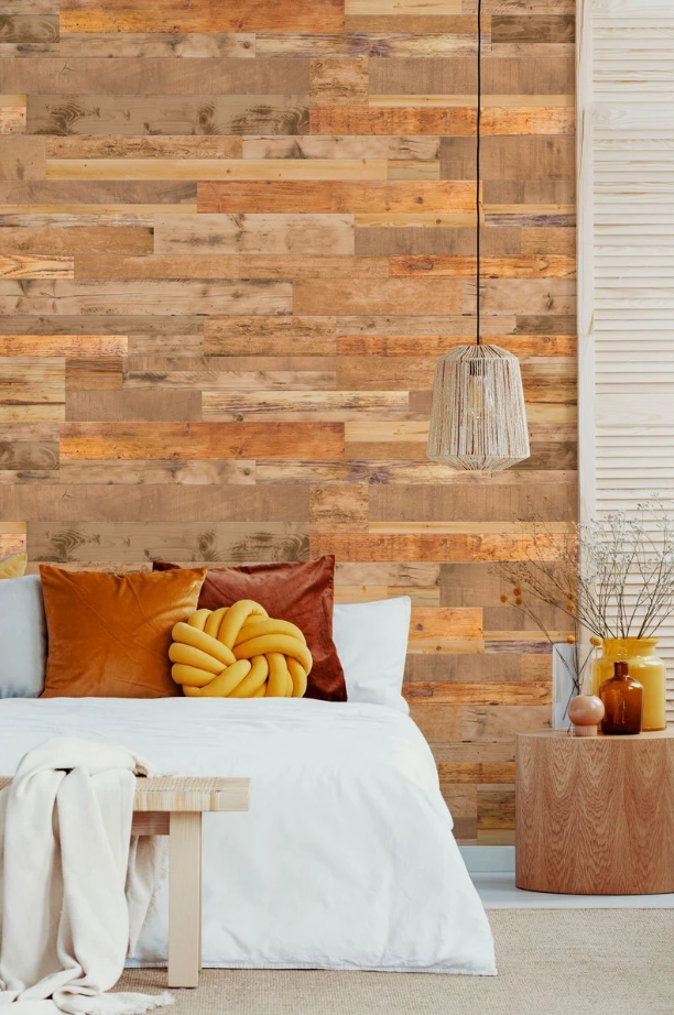 Light Brown Reclaimed Wood Wallpaper