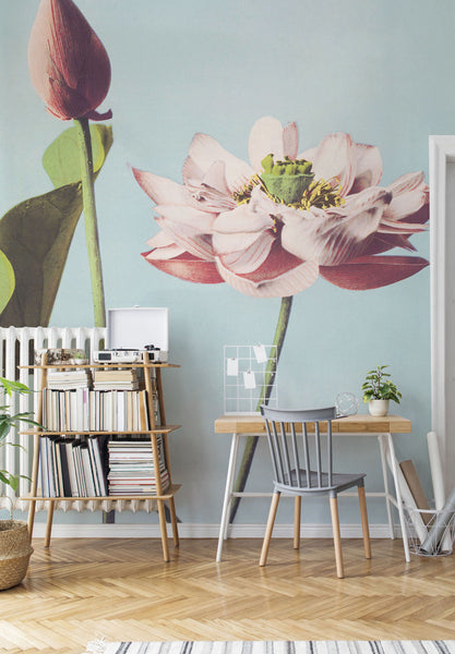 potrait floral vintage painting wall mural