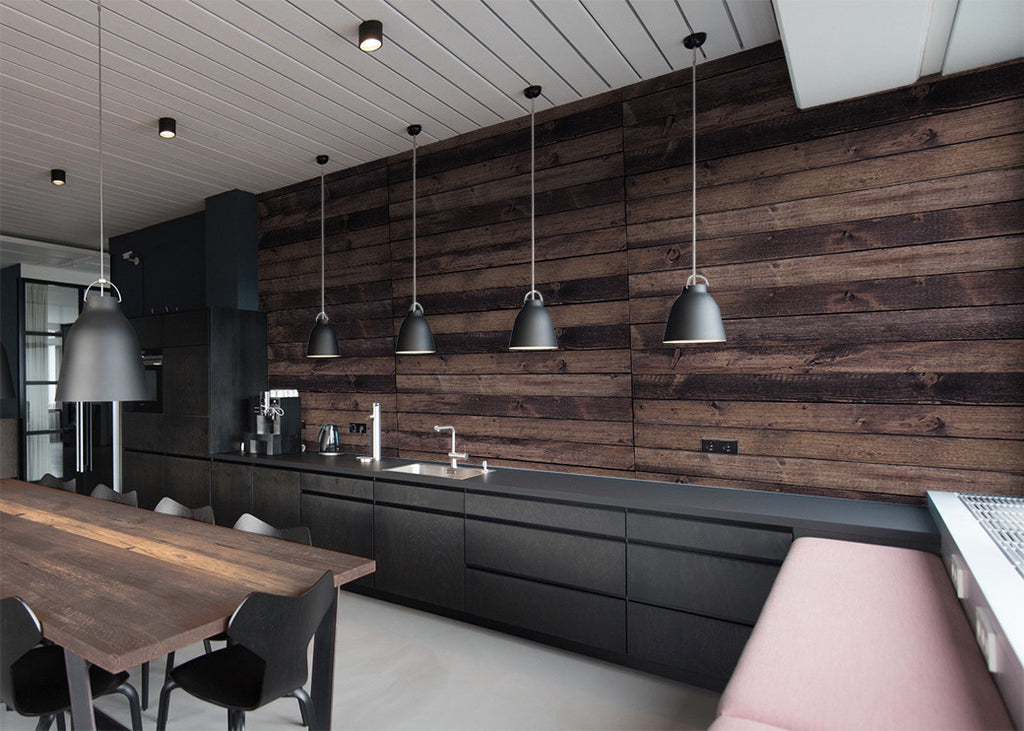 Grunge Wood Planks Wall Mural