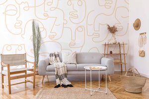 abstract faces wall murals removable mural wallpaper eazywallz
