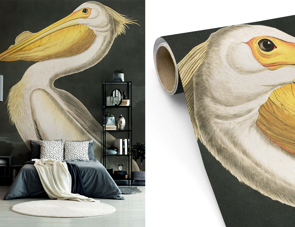 White Pelican Wall Mural Removable Wallpaper Peel and Stick Murals
