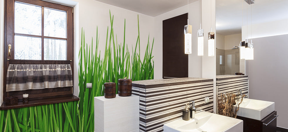 Bathroom wall murals eazywallz. Green Bathroom Wallpaper  Floral wallpaper bathroom makeover