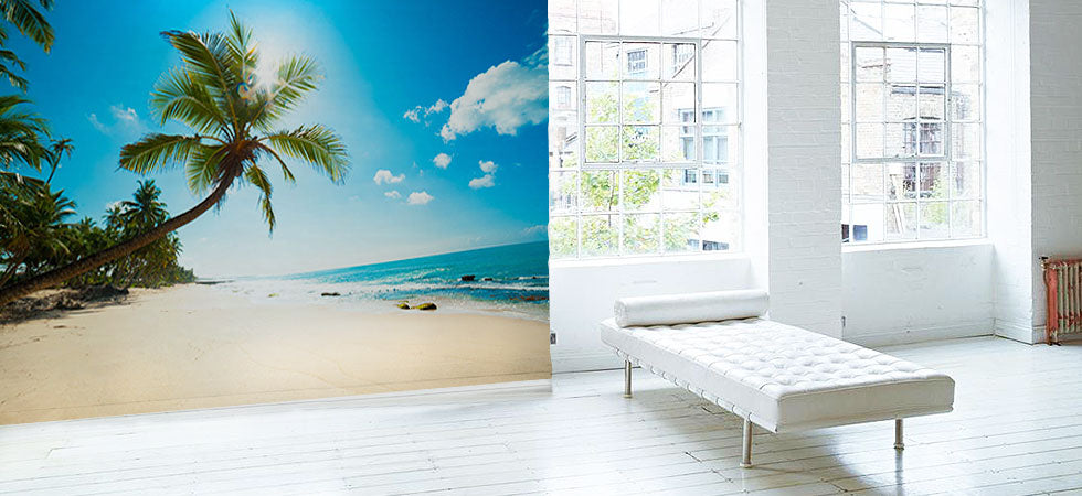 Tropical wall murals beach wall murals eazywallz for Beach mural for wall