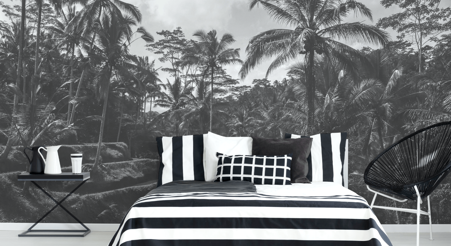 Black and White Bali Wall Mural