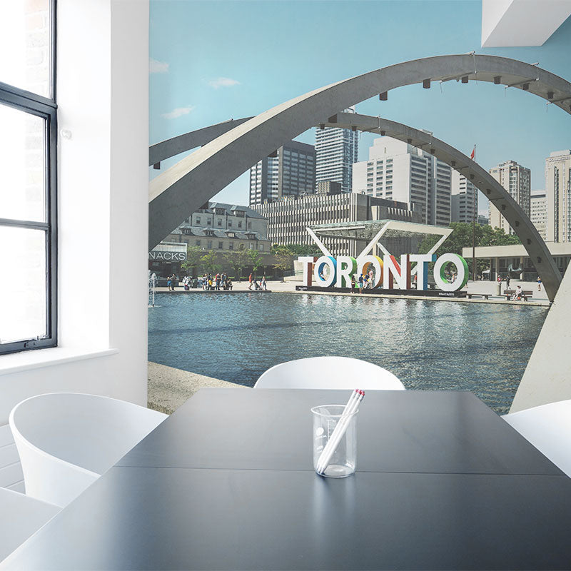 Cityscape wall mural in office boardroom