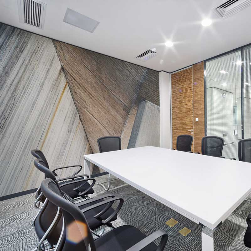 Elegant wall mural in office conference room