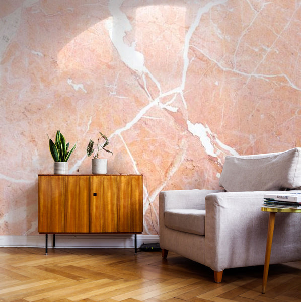coral crackeds marble wallpaper mural
