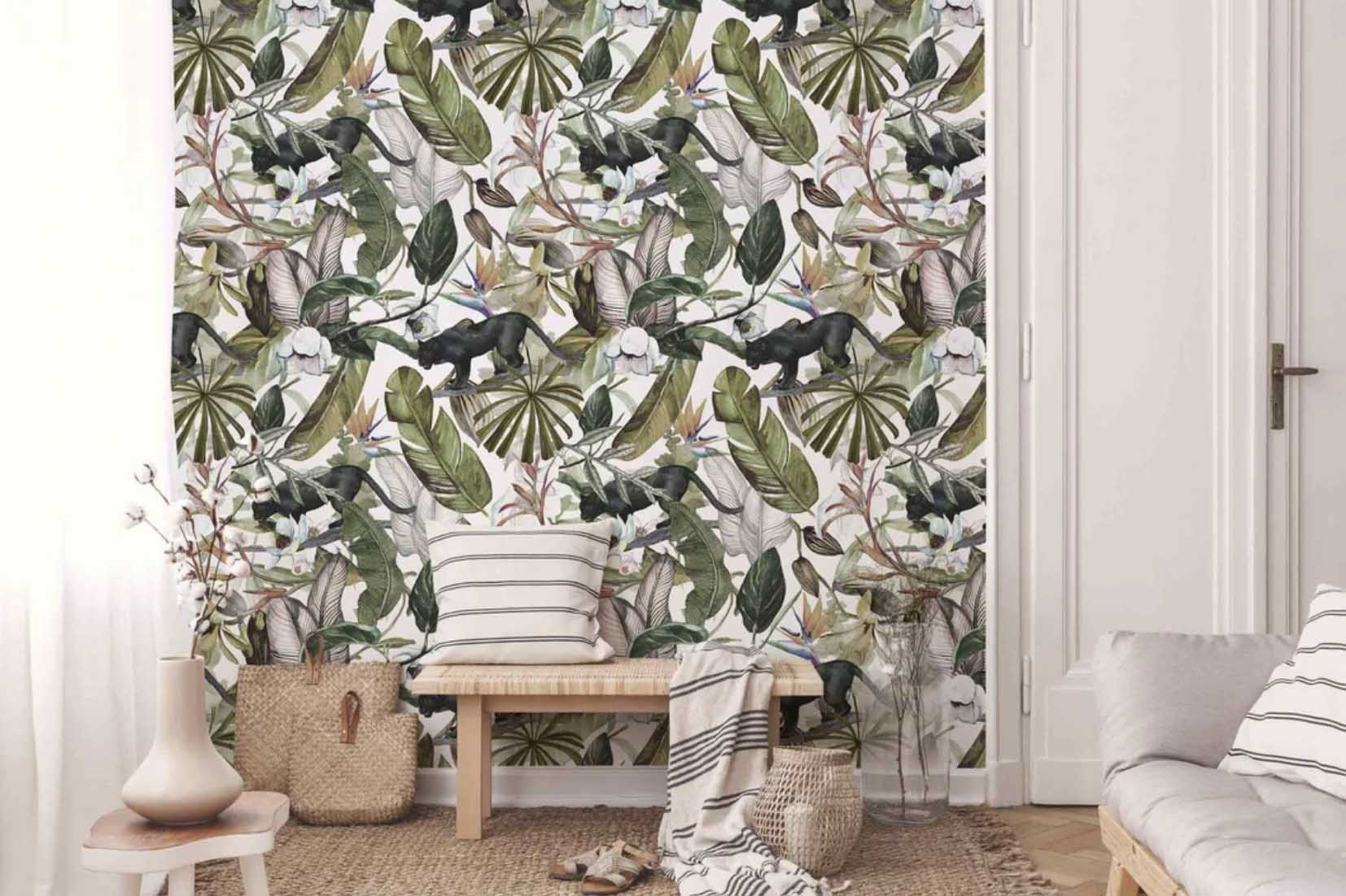 floral jungle peel and stick wall murals