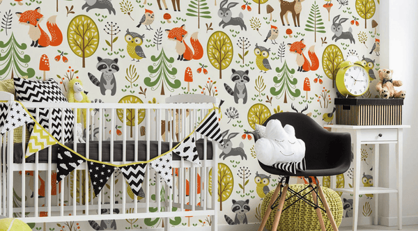 forest-animals-wall-mural nature wallpaper pattern