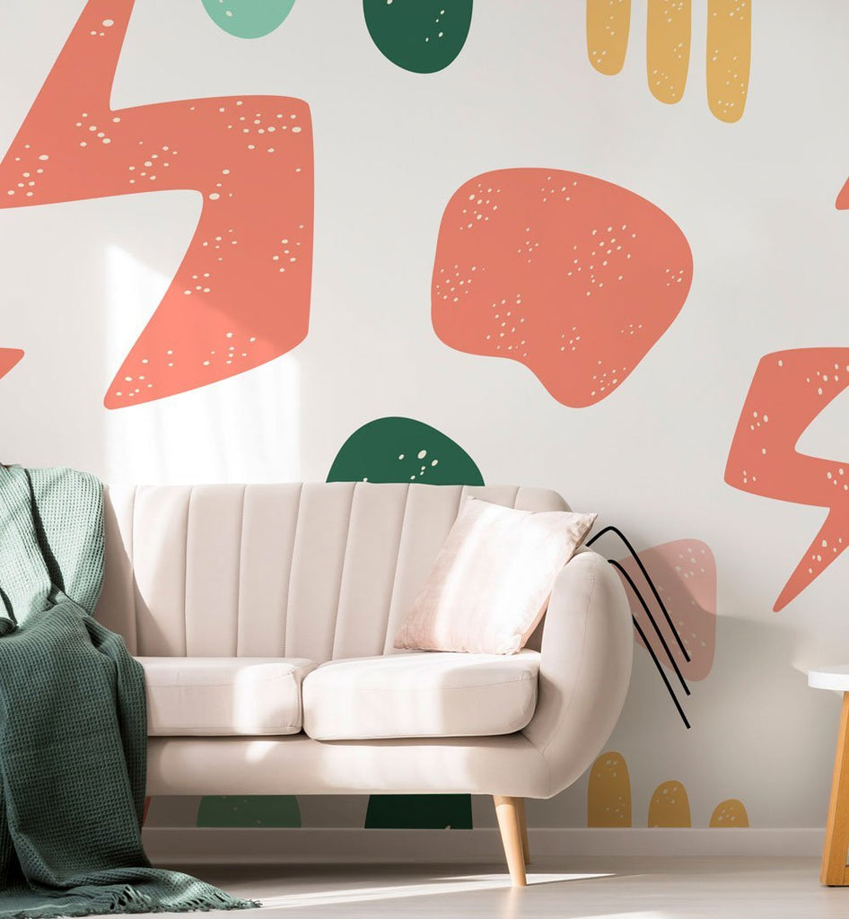 HAND DRAWN ABSTRACT SHAPES WALL MURAL