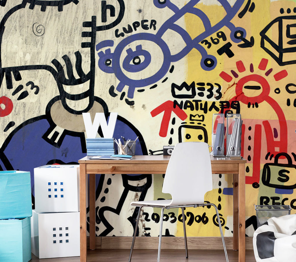 amazing Wall Murals For Teenage Girl Part - 5: GRAFITTI SPRAYED ON A WALL WALL MURAL