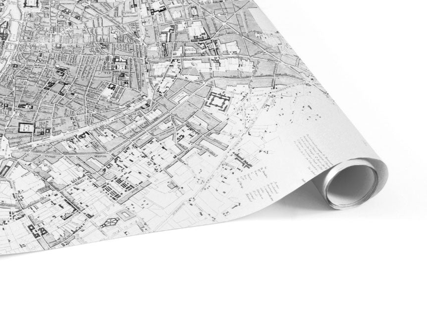 minimal map of paris wallpaper mural