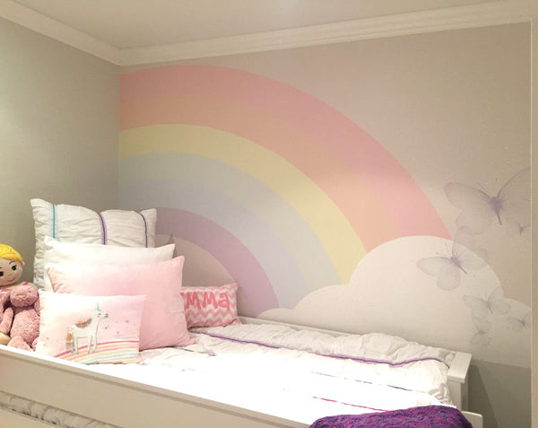 kids wallpaper mural child custom wall mural rainbow