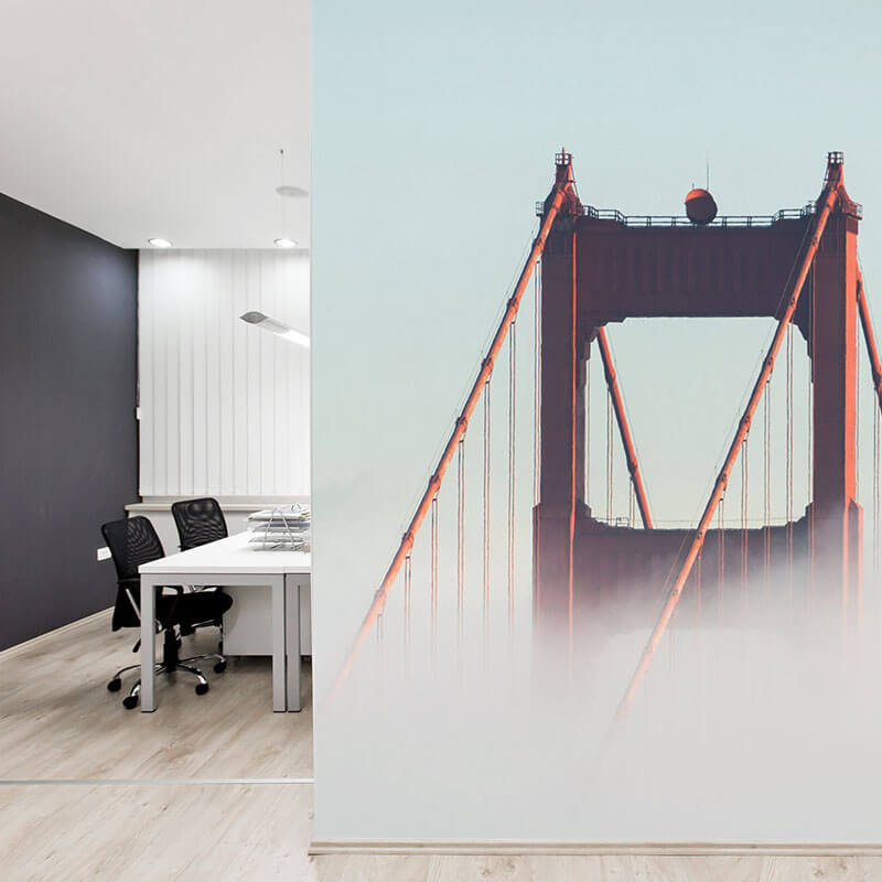 San Francisco wall mural in office